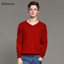 Smpevrg autumn winter new men loose casual cashmere sweater v-neck full sleeve solid knit pullovers best wool blouse shirt tops