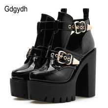 Gdgydh 2019 New Spring Fashion Buckle Ankle Boots For Women Patent Leather Rivets High Heels Shoes On Summer Thick Heel Sexy