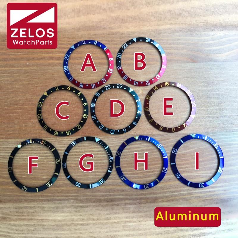 37 4mm/30 7mm Luminous aluminum Pepsi watch bezel Insert loop for RLX SUB  GMT Master Watch 16800,16610,114060 case parts