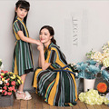 2016 New Summer Mom and Daughter Dress Matching Mother and Daughter Family Clothes Girls and Mom Dress Short Sleeve Beach Dress