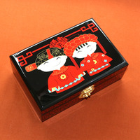 China Pingyao hand push light lacquer Chinese lacquerware jewelry necklace bangle wood box wooden Cosmetic case crafts