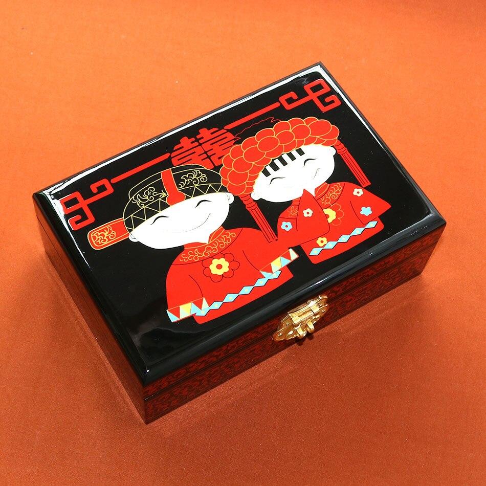 Chine Pingyao main pousser laque légère chinois laque bijoux collier bracelet boîte en bois boîte à cosmétiques en bois artisanat