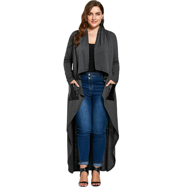 Gamiss 2017 Women Casual Open Front PU Leather With Pockets Trench