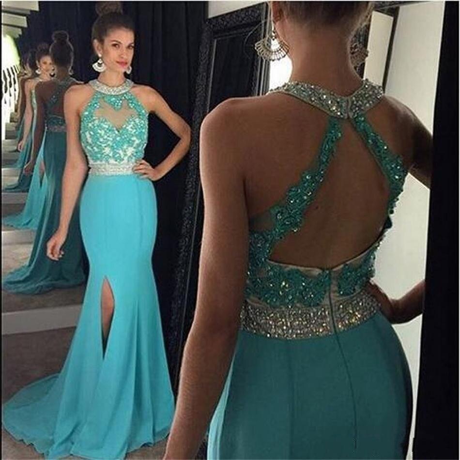 Vestidos de festa Cheap Long Mermaid   Prom     Dresses   2019 Gala jurken Sexy O Neck Shining Beading Evening   Dress   Vestidos de gala