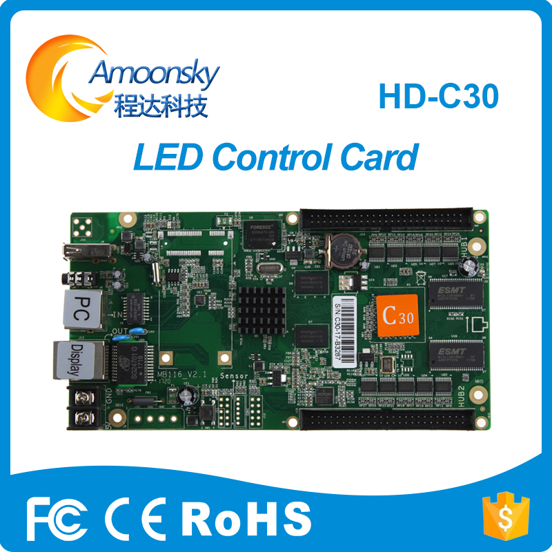 HD C30 USB Asynchronous Video Full Color LED Display Controller Card support HD R501 R502 Receiving