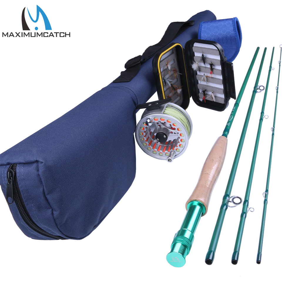 Maximumcatch 5-8WT Fly Fishing Rod& Fly Reel &  Line &  Box & Flies Fishing Combo Fishing Outfit green analytical chemistry 56