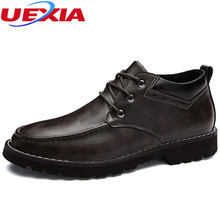 UEXIA Leather Handmade Casual font b Shoe b font Brand Design Flats New Men Casual font