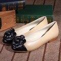 Новый Бренд Женская Обувь Овчины Натуральной Кожи Квартиры Круглым Носком Камелии Повседневная Балетные Туфли Мокасины женские Размер 35-40