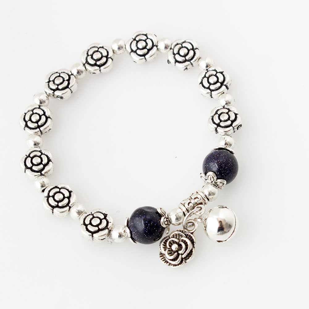 F&u Cheap Wholesale Fashion Trendy Silver Color Flower Accessories With Black Beads Elastic Bracelet Charm Bracelets