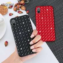 KISSCASE For iPhone 7 8 Plus Case 3D Rhinestone Soft Silicone Case For iPhone X 6S 6 Plus 6 S Plus Cases Cover Capa Shell Fundas