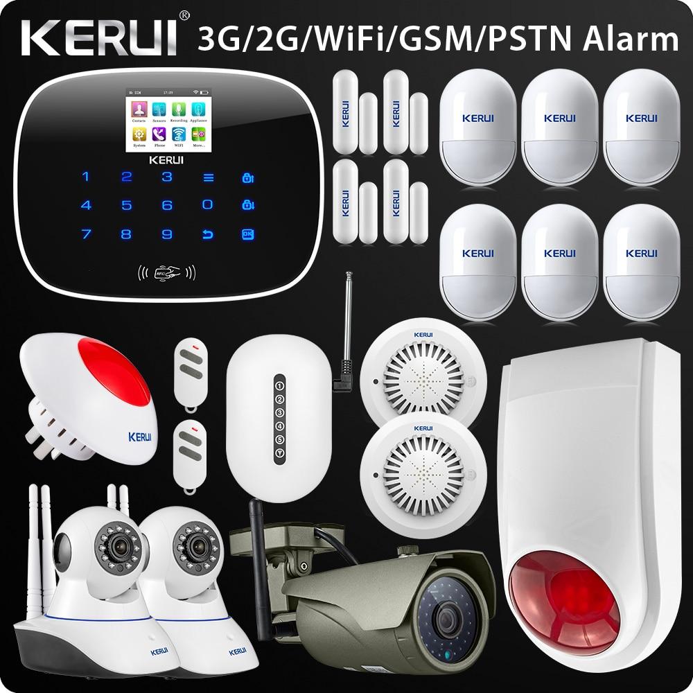 Original Kerui W193 3G WIFI PSTN GSM Home Burglar LCD Touch Screen Alarm Home Security Alarm System 1080P Outdoor wifi Camera new arrival 2018 w193 3g wifi pstn gsm sms home burglar lcd gsm sms touch screen alarm panel home security alarm system