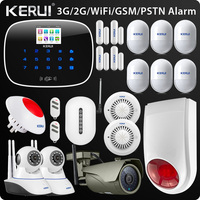 Original Kerui W193 3G WIFI PSTN GSM Home Burglar LCD Touch Screen Alarm Home Security Alarm System 1080P Outdoor wifi Camera