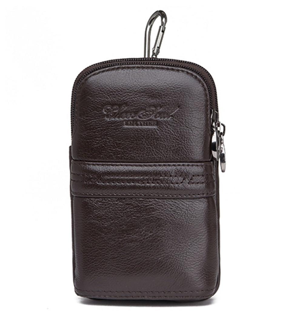 Нова тенденция Мъже Реална Cowhide естествена кожа 5.5 инчов клетка мобилен телефон дело джоб дамска чанта колан пояса хип бум мини талия фени чанта