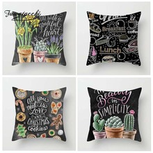 Fuwatacchi Blackboard Post Cushion Cover Plant Flamingo Sunflower Pumpkin Pillow for Home Chair Decoration Pillowcases