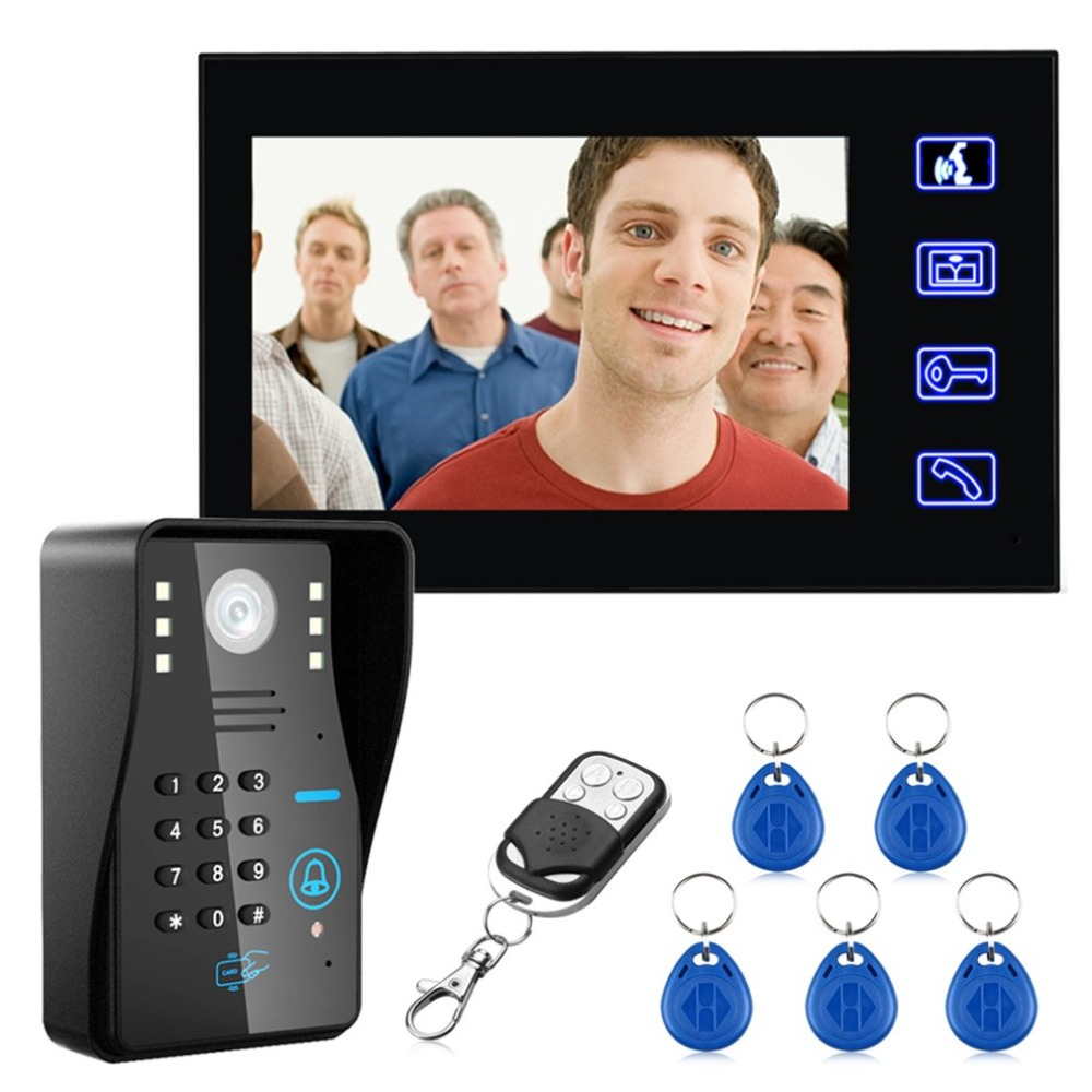7 inches Wired Doorbell RFID Password Video Door Phone Intercom Doorbell With IR Camera HD TV Line Remote Control System touch key 7lcd wired touch key rfid password video door phone doorbell intercom system ir camera with remote control