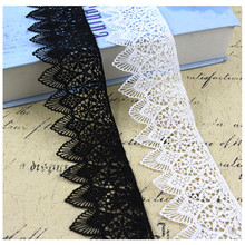 1yard*6cm wide White and black Water soluble milk silk ribbon hollow lace trim fabric for Sewing on Bridal Wedding dress Crafts