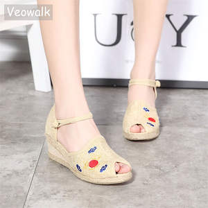 9747ff129062 Veowalk Summer Women s Wedges Sandals Med Heel Platform