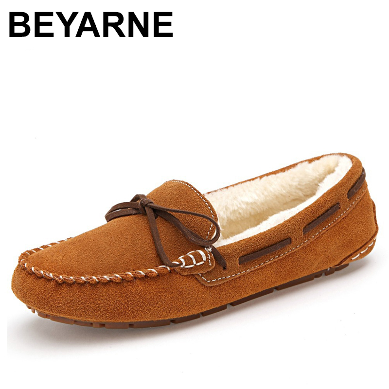 BEYARNE Winter Fur Lined Women Suede Loafers Slip-on Ladies Moccasins Soft Warm Plush Flat Driving Loafers Boat Shoes Woman uexia winter women flats warm fur plush comfort cotton shoes woman loafers slip on cute indoor warm furry comfortable moccasins