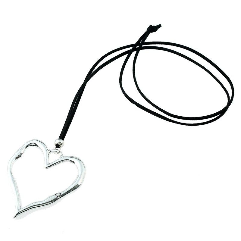 1 unids Plata Antigua Lagenlook Gran Corazón Abstracto Colgante - Bisutería - foto 2