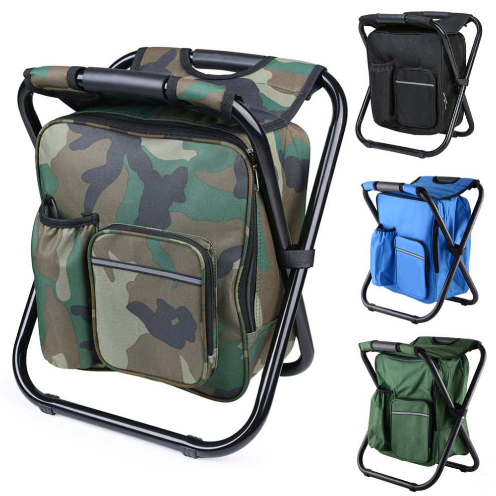 Outdoor Folding Camping Picnic Fishing Chair Stool Portable Backpack Seat Bag