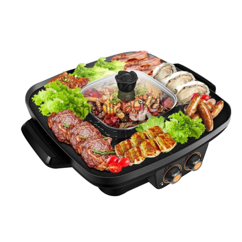 Commercial Electric barbecue machine Hot pot+barbecue One-piece pot smokeless Multi-function roasting pot kitchen supplies 220v Commercial Electric barbecue machine Hot pot+barbecue One-piece pot smokeless Multi-function roasting pot kitchen supplies 220v