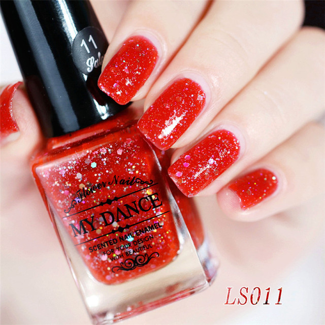 New Brand 1PC 6ml Gel Nail Diamond Glitter Nail Polish Red Sequins ...