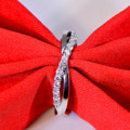 925 sterling silver man made diamond ring female twisted arm finger wedding ring band jewelry (JSA)