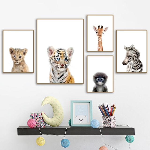 Safari Nursery Decoration Safari Animal Nursery Wall Art Print Jungle Animals Elephant Posters Canvas Painting Baby Room Decor