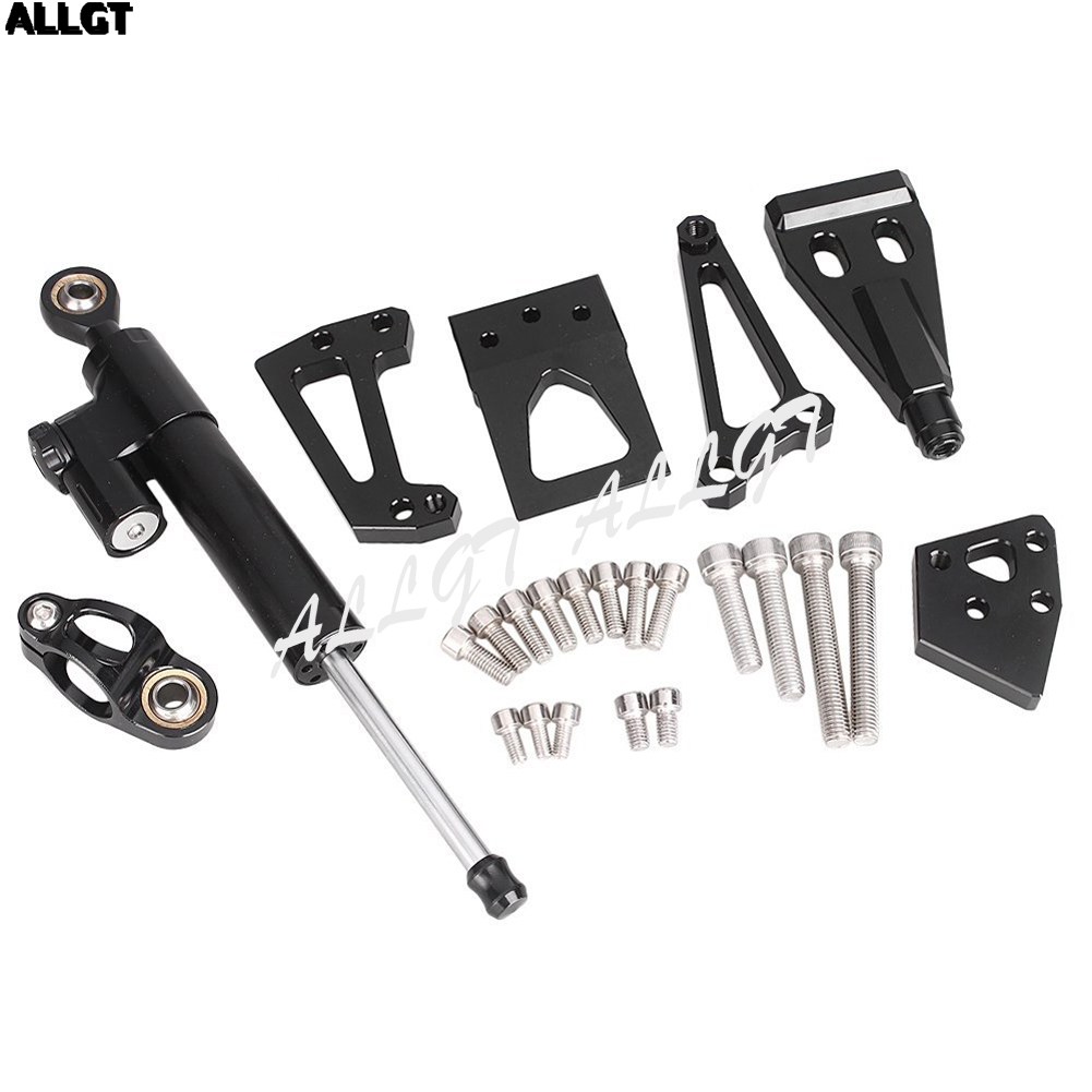 CNC Aluminum Steering Damper Set W/Bracket Kits For Kawasaki ER6N 2009 2010 2011