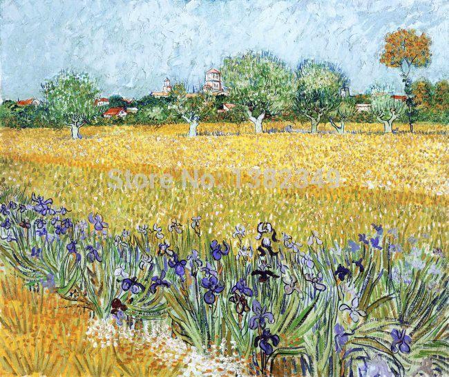 Imprim champ de bl avec des fleurs vincent van gogh imprime peinture l 39 huile de la - Peinture a l huile van gogh ...