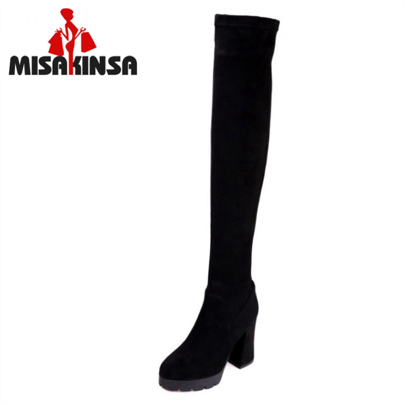 MISAKINSA Women Real Leather High Heels Over Knee Long Boots Ladies Round Toe Platform Shoes Women Winter Warm Botas Size 34-40 zvq winter knee high boots woman mid heel round toe ladies warm shoes real fur genuine leather foot upper women boots heels