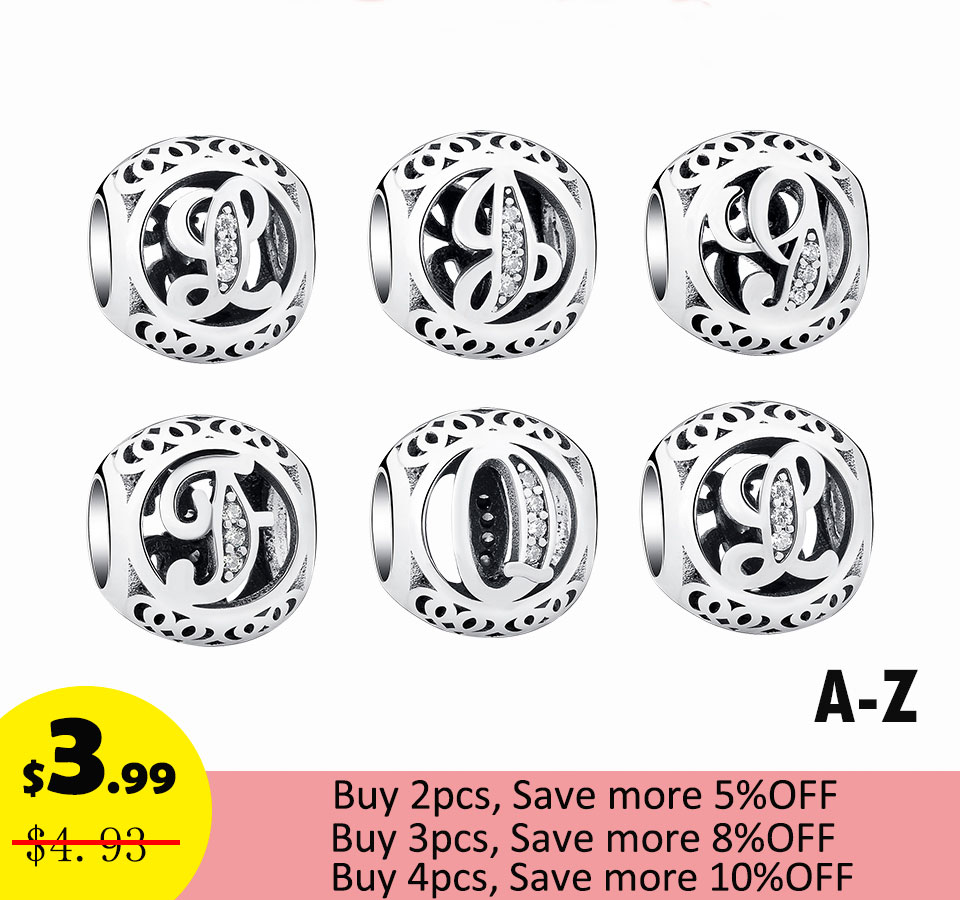 Hentշգրիտ կլոր այբուբենի Նամակներով Beads Fit Pandora Charms Silver 925 Original Charms with Cubic Zirconia կանանց զարդերի պատրաստում