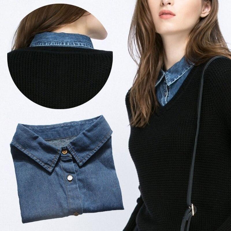 Women Shirt Fake Collar Denim Tie Fashion Detachable Collar False Collar Lapel Blouse Top Women Clothes Accessories #