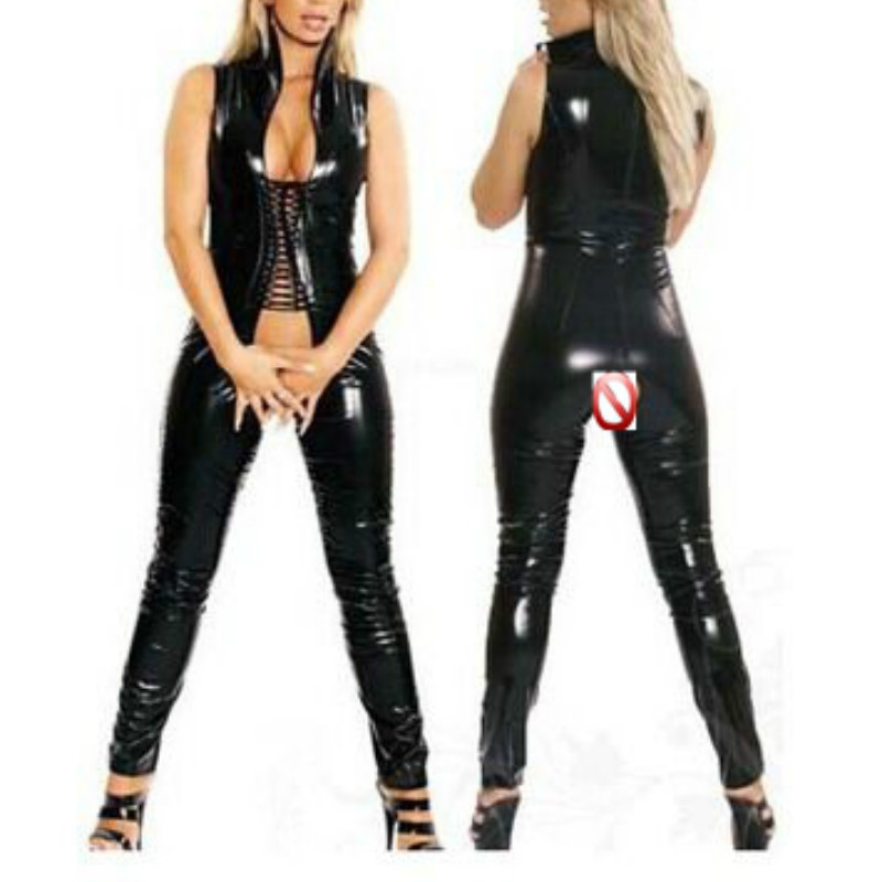 2018 New Plus Size Crotchless Catsuit Women Black Faux Leather Open Crotch Leotard Catsuit Costume Sexy Jumpsuits XXL