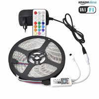 FDIK 5050 taśma LED 12 V 60 diod LED/m elastyczne LED światła 5 M 300 diody LED IP20 IP65 diody taśma wstążka + RF kontroler WiFi + 3A zasilacz
