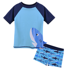 BAOHULU/милый мультяшный детский купальник с коротким рукавом UPF50+ одежда для купания для маленьких мальчиков; детские купальные костюмы для серфинга