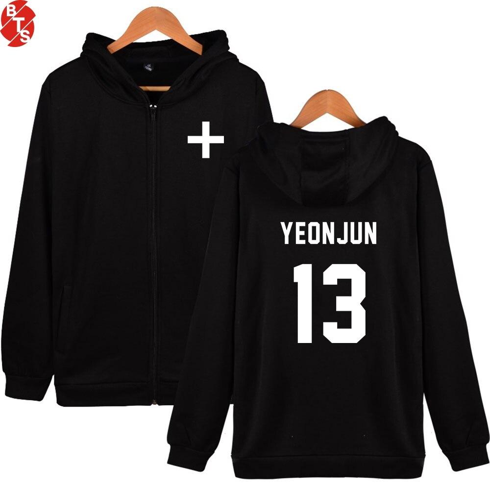 TXT Tomorrow X Together Zipper Hoodies Women/Men Fashion Pritned Long Sleeve Hooded Sweatshirts 2019 Kpop Streetwear Clothes