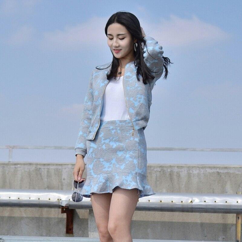 Poisson Queue Jupe De pièce Volants Marée Femme Mode 1 Coréenne Mince Deux Costume Tempérament w8nm0vN