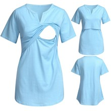 MUQGEW Women breastfeeding tops clothes summer Maternity Short Sleeve V-neck Nursing Tops T-shirt For Breastfeeding