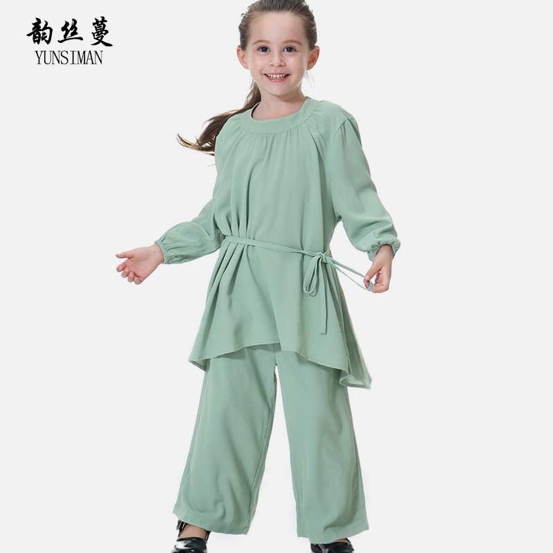 Children Clothing Sets Size 2 4 6 8 10 12 14 T Long Sleeve O-neck Loose Style Girl Clothes Suit Kids Tee Shirt Harem Pant 19A2A spring girls loose o neck flare long sleeve stripe t shirt tee single breasted pocket elastic waist black jeans skirt set baby