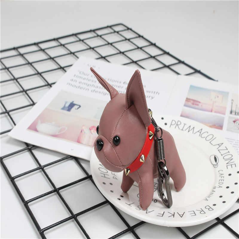 Mini Moda criativa imitação de couro de animais cão bulldog bulldog clipe keychain bolsa charme chaveiro Chaveiros saco presente íntimo