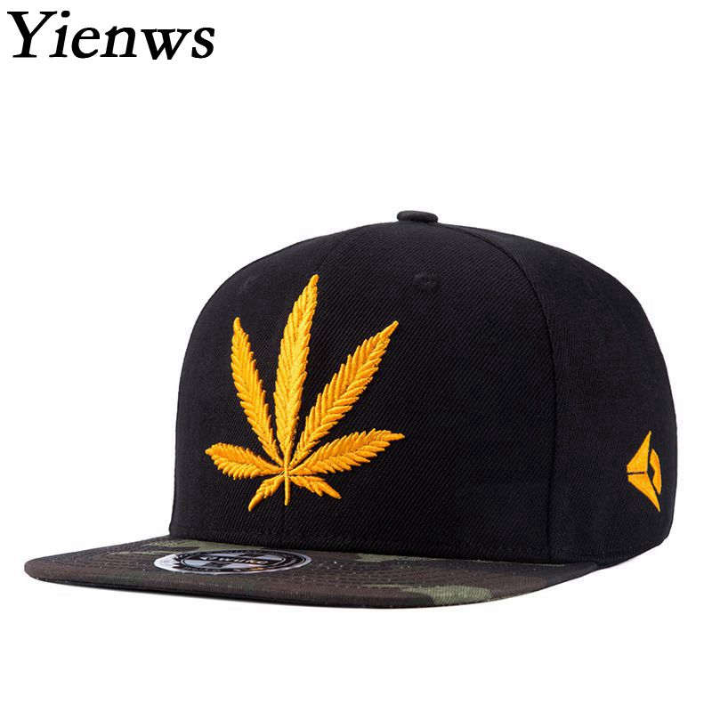 Yienws Weed Hat Straight Brim Male Brand Baseball Cap Youth Hip Hop Snapback Gorras Planas Black Camouflage Full Cap YIC467 yienws vintage jeans curve brim trucker
