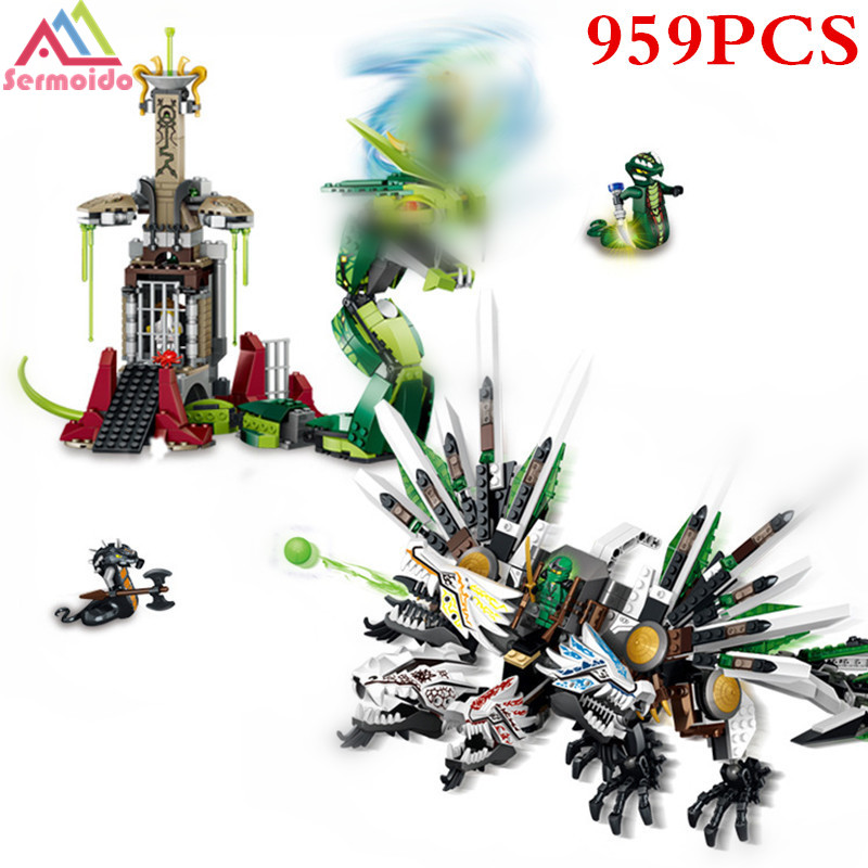 sermoido 959Pcs 79132 Ninja 9450 ninja Armageddon Epic Dragon Battle Building Block Sets DIY Brick Toys For Children Gift B153 compatible with lego ninjago 9450 lele 79132 959pcs blocks ninjago figure epic dragon battle toys for children building blocks