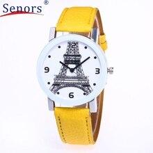 Girls Eiffel Tower Analog Quartz Watch Leather-based Band Wrist Watch ap17