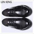 LIN KING Brand Design Man Lace Up Business Shoes Men Classic Shoes Men Casual Genuine Leather Oxfords Men Dress Wedding Shoes