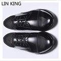 LIN REI Homem de Design da Marca Rendas Até Sapatos De Negócios Dos Homens clássico Homens Sapatos Casuais Genuínos Oxfords de Couro Dos Homens Vestido de Casamento sapatos