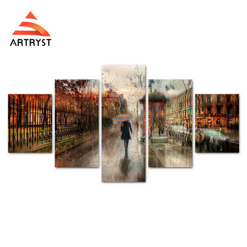 5 pcs No frame canvas art girl walking in the rain poster printed on - Home Decor - Photo 2