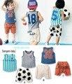 2017 Crianças de Verão roupa Dos Miúdos conjuntos de roupas Esportivas sem mangas T-shirt + calças 2 pcs define Meninos roupas crianças sportswear para 1-5 T