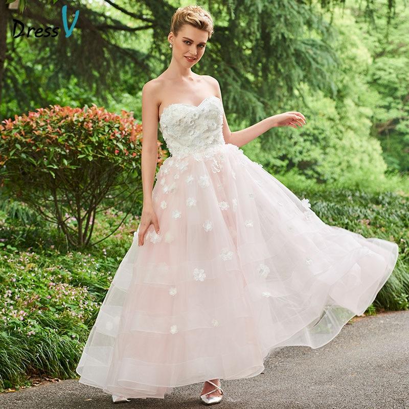 Wedding Gowns For Outdoor Weddings: Dressv Elegant Long Wedding Dress Sweetheart Neck Ankle