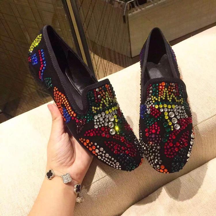 Redonda Rhinestones Mocasines De Colorido Planos Mujeres Genuino Del Las Cristal Feminino Punta Ocasionales Multiple Sapato Cuero Zapatos dq8xxZ